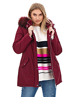 Raspberry Faux Fur Trim Parka