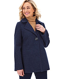 Navy Marl Coat with Button Detail