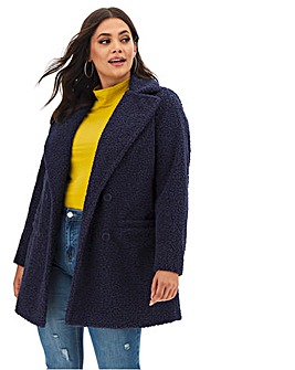 Navy Teddy Faux Fur Coat