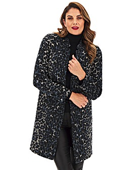 Animal Edge to Edge Notch Neck Coat