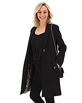 Oversized Black Scuba Jersey Coat