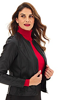 Collarless Zip PU Jacket