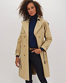 Cotton Rich Camel Longline Double Breasted Trench Coat