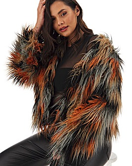 Multicoloured Shaggy Faux Fur Coat