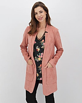 Dusky Pink Chuck On Suedette Jacket