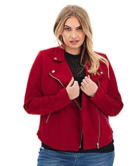 Raspberry Suedette Biker Jacket
