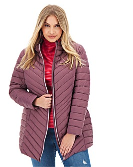 Mauve Lightweight Long Padded Jacket