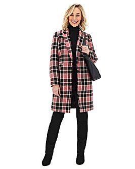 Pink Check Print Single Breasted Coat