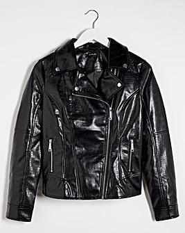 Black Shiny Croc PU Biker Jacket