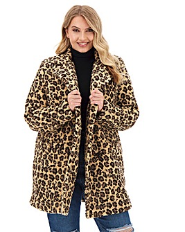 Leopard Print Teddy Faux Fur Coat