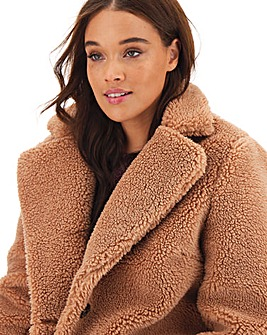 Rust Longline Teddy Faux Fur Coat