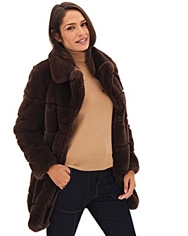 Brown Stepped Faux Fur Mid Length Coat