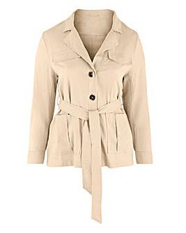 Sand Belted Utility Linen Jacket