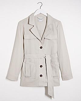 Soft Sand Belted Utility Linen Jacket