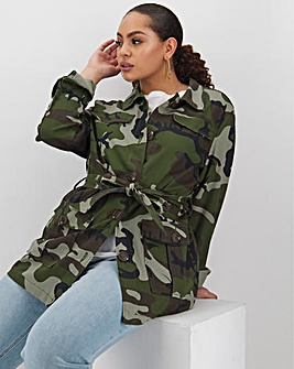 Camo Print Belted Utility Jacket