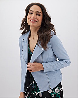 Pale Blue Suedette Biker Jacket