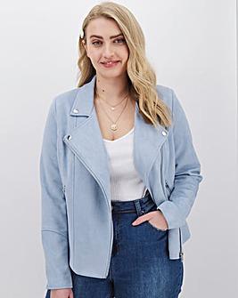 Pale Blue Suedette Biker Jacket