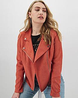 Rust Suedette Biker Jacket