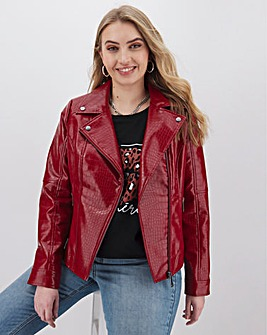Red Croc PU Biker Jacket