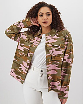 Pink Camo Raw Hem Shacket