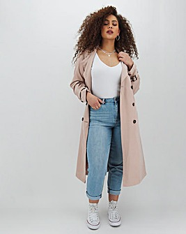 Soft Pink Longline Trench Coat