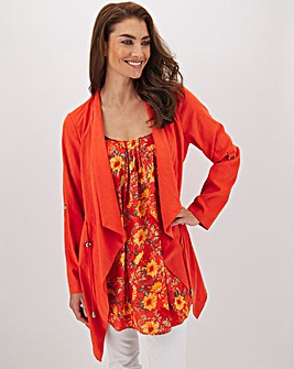 Tomato Red Waterfall Soft Touch Lightweight Jacket