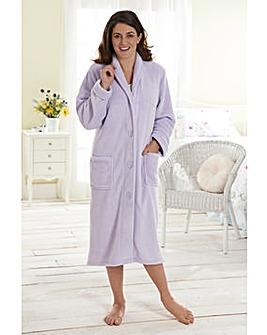 Fluffy Button Fleece Gown 48inch