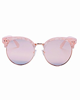 Kenzie Retro Style Pink Sunglasses, With Pink Lenses