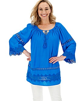Blue Embroidered Insert Bardot Tunic