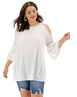 Ivory Cold Shoulder Embroidered Top