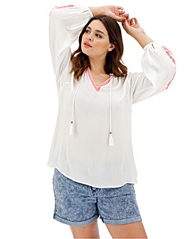 White/Pink Embroidered Peasant Blouse