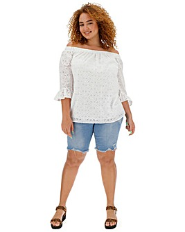 Ivory Broderie Bardot Top