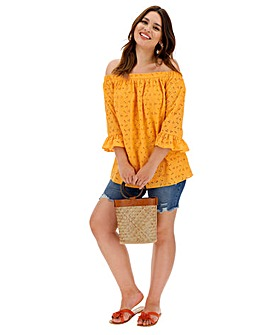 Yellow Broderie Bardot Top