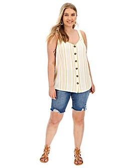 Linen Button Front Vest