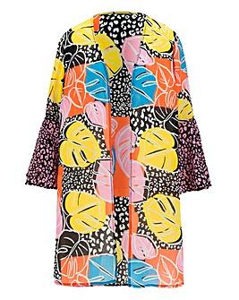 Mix Print Frill Sleeve Kimono