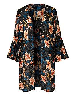 Black Floral Print Frill Sleeve Kimono