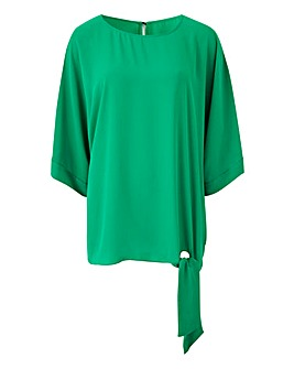 Green Tie Side Detail Top