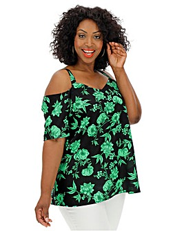 Green Floral V-Neck Bardot Blouse