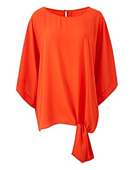 Orange Tie Side Detail Top