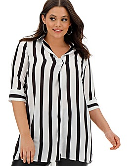 Black/Ivory Stripe V-Back Detail Shirt