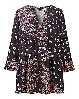 Black Mix Print Smock Tunic