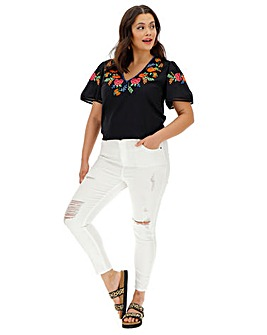 Black Floral Embroidered Top