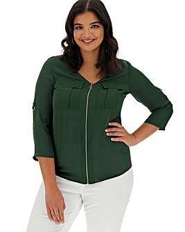 Green Double Pocket O-Ring Zip Shirt