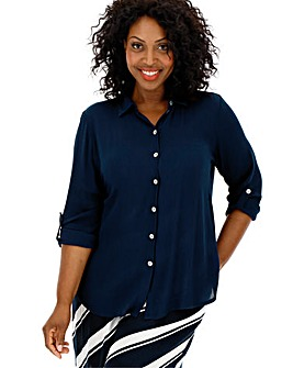 Navy Crinkle Shirt