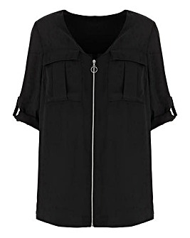 Black Double Pocket O-Ring Zip Shirt