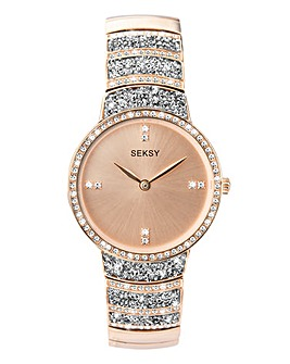 Seksy Rocks Rose Gold-Plated Ladies Bracelet Watch