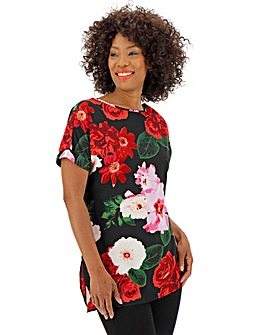 Black Floral Longer Length Boxy Top