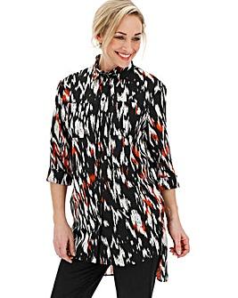 Mono/Orange Longline Oversized Shirt