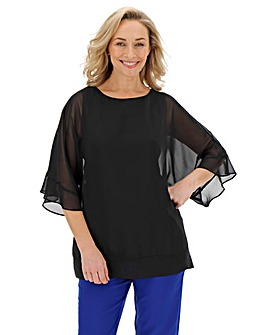 Black Fluted Sleeve Sheer Blouse