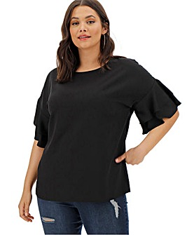 Black Fluted Sleeve Boxy Top